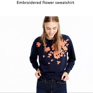 J. Crew Embroidered Flower Sweatshirt